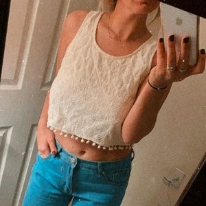 Cropped Tank with Fringe